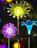Garten Solarleuchten, 3 Stück Gartenleuchte, Gartenbeleuchtung Solar Garten Dekoration, Lilie, Sonnenblume und LöWenzahn Led Leuchten Solarstecker Solar Lights Bunt Solarlampen für AußEn Balkon Weg