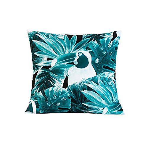 Nikgic. Funda de cojín 45 x 45 cm con diseño de hojas, de microfibra, color azul y verde, para sofá, asientos de coche, hogar, cumpleaños, fiestas, habitación de los niños, salón, Deocoration A