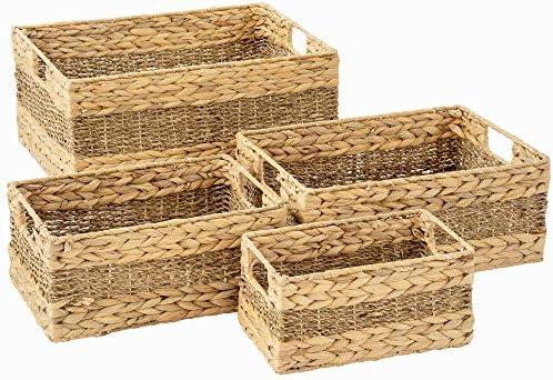 Artera Large Wicker Storage Basket Set of 4 Woven Water Hyacinth Baskets with Handle Large Rectangular product image