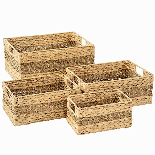 Artera Large Wicker Storage Basket - Set of 4 Woven Water Hyacinth Baskets with Handle, Large Rectangular Natural Nesting Storage Bins for Bedroom, Bathroom, Laundry Room or Kitchen (Style 1)