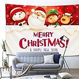 GenericBrands Tapiz de Navidad Merry Xmas Cute Santa Wall Hanging Holiday Tapiz de Pared para Dormitorio Dormitorio Sala de Estar Decoración para el hogar