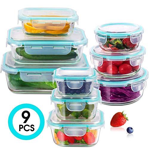 Masthome Contenedor de Almacenamiento de Alimentos de Vidrio,Conjunto Apilable de 9 Piezas,Con tapas Transparentes,Sin BPA,Para Cocina,Restaurante