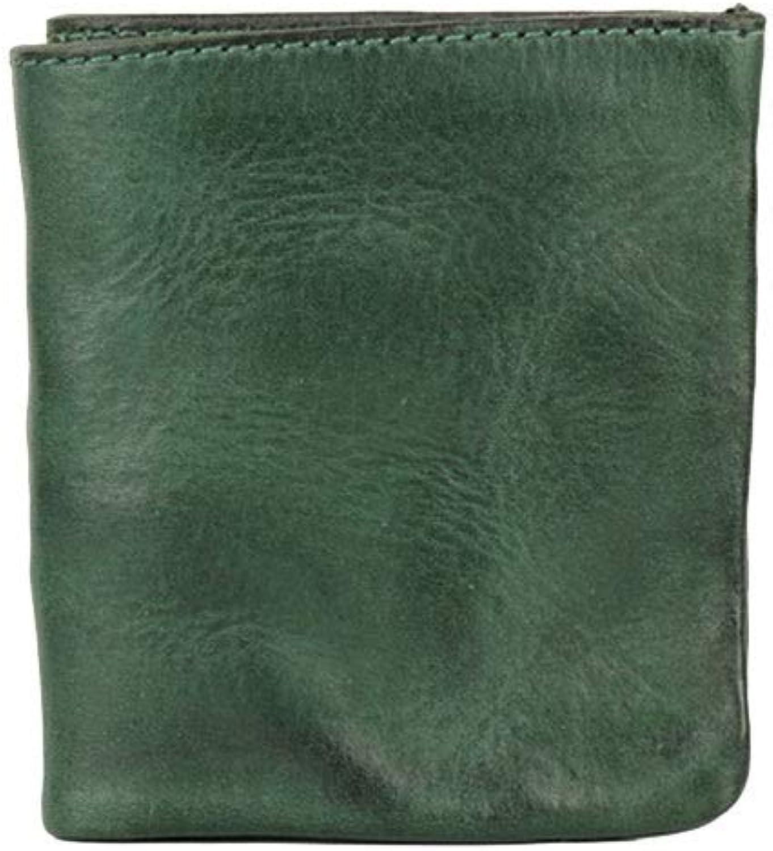 Women's Wallet Leather Short Ladies Wallet Vintage Men's Wallet Casual Soft Leather Neutral Handbag (color   Green)