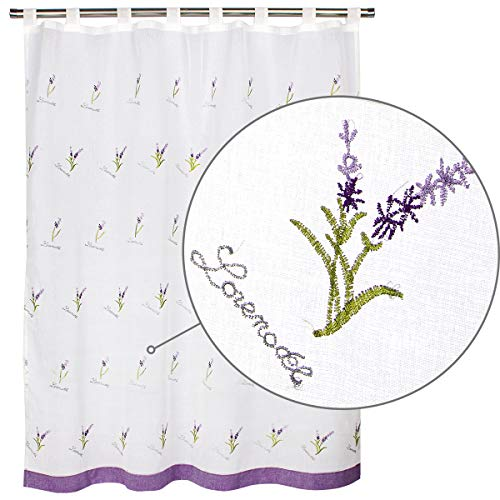 Viste tu hogar Cortina Corta para Cocina de Visilo, Estilo Simple y Elegante 140 x 145cm, Flores Purpuras