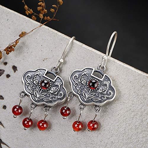THTHT - Pendientes de plata de ley S925 para mujer, diseño de loto, granate con flecos, elegante temperamento