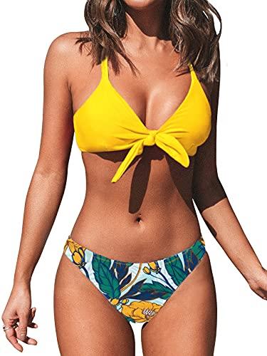 CUPSHE Damen Bikini Set V Ausschnitt Knoten Bikini Bademode Low Rise Tropenmuster Zweiteiliger Badeanzug Swimsuit Gelb XS