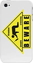 Cellet Beware Drunk People Crossing Sign Proguard Case for Apple iPhone 4/4S - White