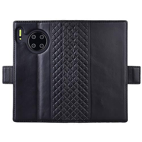 Tianniuke Huawei Mate 30 Pro Hülle, Echt Leder hülle mit Kartenfach Standhülle Flip Schutzhülle, Brieftasche Wallet Handyhülle für Huawei Mate 30 Pro (Schwarz) - 4