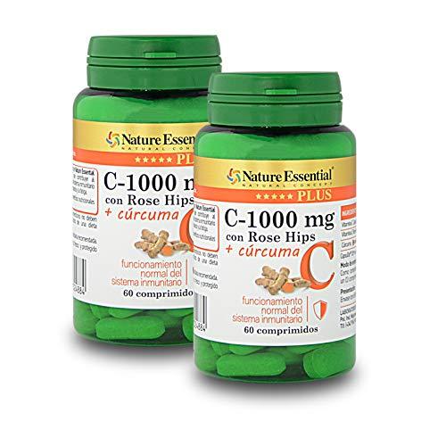 Nature Essential Vitamina C 1000 mg.+ Cúrcuma Nature Essential Plus Con Vitamina C microencapsulada, Vitamina C de extracto seco de Rose Hips Rosa canina– 60 Comprimidos, Pack 2 unidades