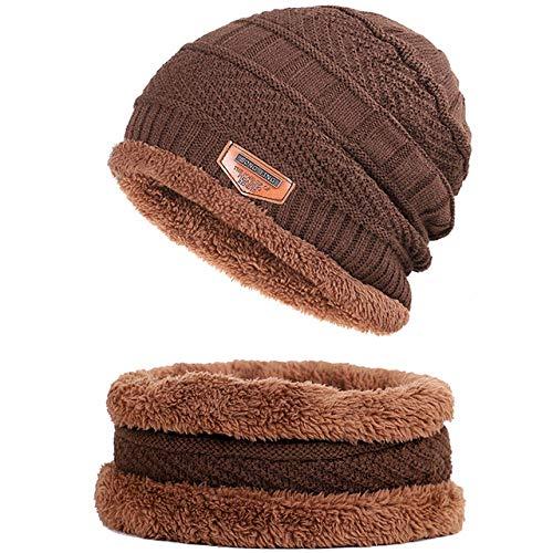 Bonnet Unisexe Chapeau tricoté Homme Beanie Hats, écharpe Bonnet Chaud Plus épais Bonnets Chauds en Tricot Cagoule Chapeau d'hiver pour Les Hommes Femmes Bonnet Skullies Bonnet @ Café