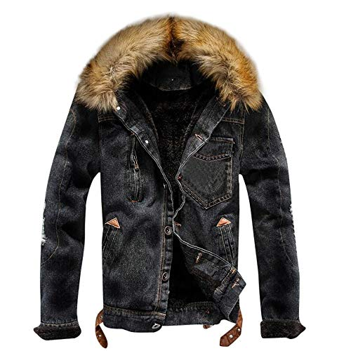 Snowmolle Men's Faux Fur Collar Sherpa Fleece Lined Distressed Denim Trucker Jacket Button Down Coat Outerwear