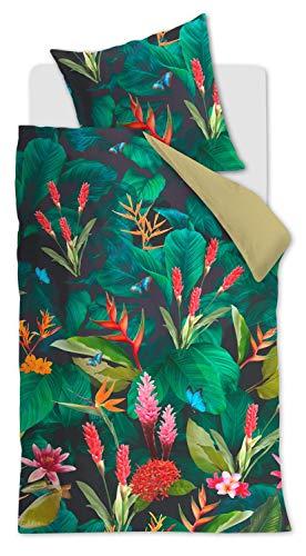Beddinghouse Juego de cama (satén mako, 135 x 200 cm y 80 x 80 cm), diseño tropical, color verde
