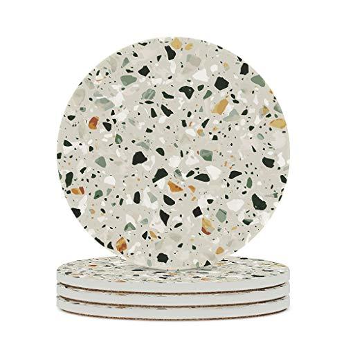 Perstonnoli Posavasos Terrazzo con textura de mármol, redondos, de cerámica, con base de corcho, juego de 4 posavasos decorativos para bebidas, tazas, bares, cristal, 10 cm, color blanco, 6 unidades