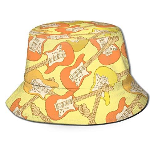 Bosquejo Amarillo Unisex Guitarra eléctrica Instrumento Musical Imprimir Sombrero de Cubo de...