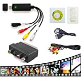 VHS a PC DVD Digital USB 2.0 Audio Video Convertidor Scart a RCA S-Video Adaptador Capture Card Cable Grabadora Grabber Transferir para Windows XP Win7 Win8 Win10