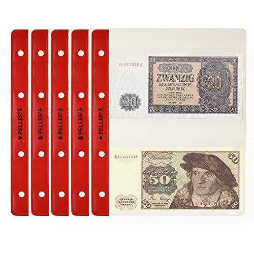 PELLER'S | Banknoten-Hüllen Für Sammelalbum, Felder 143mm x 80mm. 10 er Packung. Für PELLER'S Banknotenalbum M.