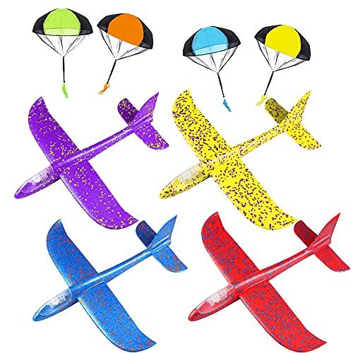 Jooheli Avión Planeador, 4 Pièces Planos de Espuma y 4 Pièces Paracaidista Juguete, Avión de Juguete Luminiscente, Aviones de Poliespan 35 cm, Deportes Al Aire Libre Volar Juguete para Niños