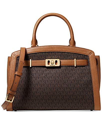Made of Leather; Polyester lining; Zip top closure with belt detail at front; 1 inside zip pocket; 4 inside open pocket MK logo; Adjustable, detachable Leather shoulder strap with 22-24 Inches drop Gold hardware Measurements: Length: 13 x Height: 9 x...