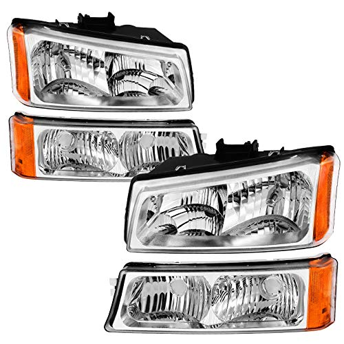 AUTOSAVER88 Headlight Assembly Compatible with 2003-2006 Avalanche/ 2003-2007 Silverado 1500HD/ 2003-2006 Silverado 2500HD (Not Compatible with Body Cladding Models)