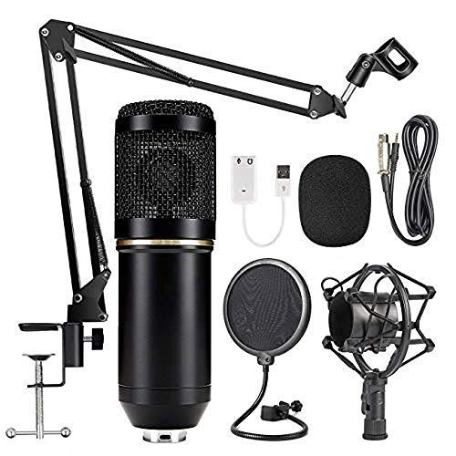 Professionell Studio Kondensator Mikrofon Set,Studio Tisch Professionell Mikrofon mit Arm Ständer&Halter, EDAHBJNEST5MK BM-800 Tisch Kondensator Mikrofon mit Ständer,Aufnahme,Podcast,Gaming (black)