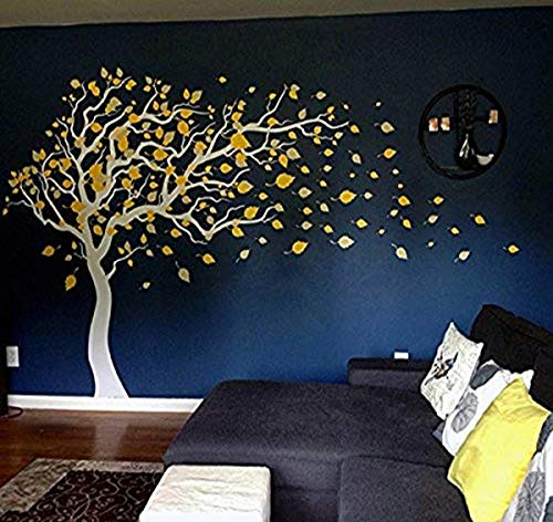 "Pop Decors""White/Yellow Tree Blowing Right to The Wind"" Beautiful Wall Stickers for Kids Rooms"