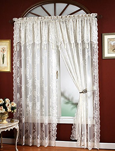 """CARLY LACE CURTAIN PANEL WITH ATTACHED VALANCE WITH TASSELS WHITE 56""""X63"""""""