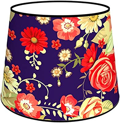 Abat-jours 7111304833959 Conique Imprimé Violo Lampe de Chevet, Tissus/PVC, Multicolore