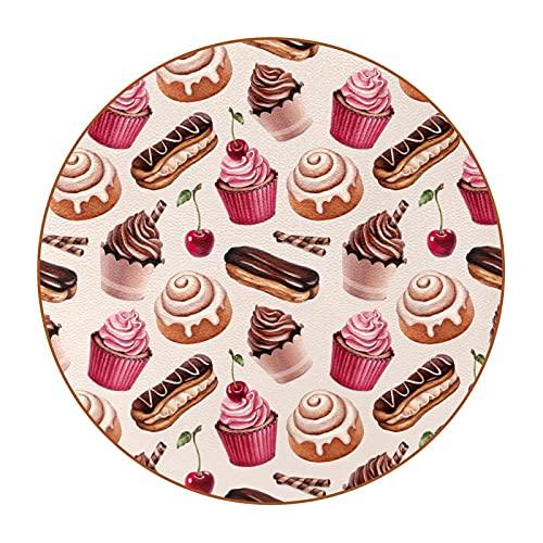 Sottobicchieri in Tondo Per pelle- Set Di 6Design Coasters Bevande Sottobicchieri Per Bevande, Tazze, Bar Sottobicchieri di caffè Panino alla cannella torta al cioccolato