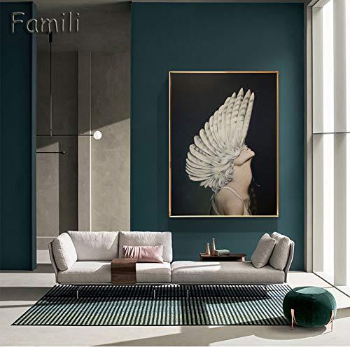 SDFSD Moderne engel meisjes Scandinavisch zwart en wit canvas schilderij kunstdruk muur poster abstract meisje afbeelding slaapkamer woonkamer muur art50x70 cm