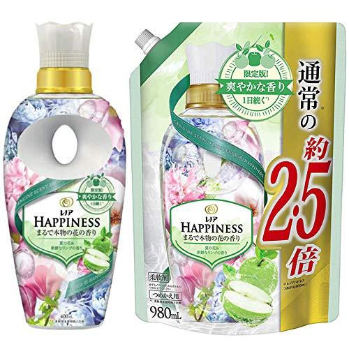 【セット商品】レノアハピネス 限定 夏の花&新鮮なリンゴの香り 本体ボトル400mL+詰め替え980mL