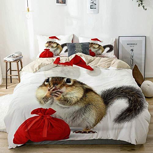 Funda nórdica Beige, Ardilla con Sombrero Rojo de Papá Noel y Bolsa con Regalos sobre Fondo Blanco, Juego de Cama de Microfibra Impresa de Calidad de 3 Piezas, Diseño Moderno con suavidad Cómodo
