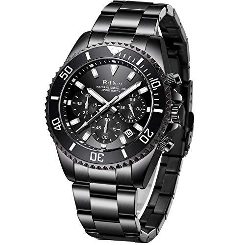 Relojes Hombre Relojes Grandes de Pulsera Militares Cronografo Diseñador Luminosos Impermeable Reloj Hombre Deportivos de Acero Inoxidable Plata Analogicos Fecha Negro