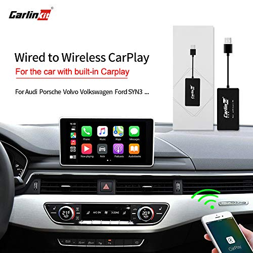 Carlinkit Attivatore Wireless Carplay Dongle USB 2.0 per Auto con Carplay Originale Compatibile con Audi/Porsche/Volvo/VW, supporto pulsante volante controllo auto originale
