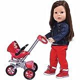 The New York Doll Collection Au Revoir Bébé Poussette rouge poussette avec bébé (18 pouces/46cm Poupee non inclus) pour poupées de 18 pouces / 46 cm - Landau de poupée - Accessoires de poupées