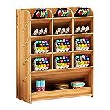 Caja de almacenamiento para bolígrafos, de madera, multiusos, organizador de escritorio para el hogar, la oficina y la escuela, color Madera de cerezo.