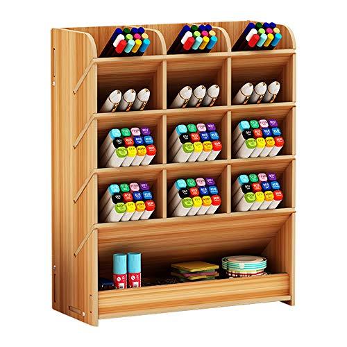 Stifthalter Aufbewahrungsbox aus Holz, multifunktionaler Schreibtisch-Organizer für Zuhause, Büro und Schule Kirsche