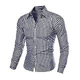 N\P Camisas a cuadros de manga larga para hombre con autocultivo, camisa de trabajo