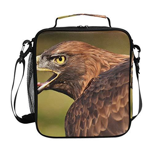 Sac à déjeuner isolé avec motif aigle Marron Adler Oiseau Lunch Box Cooler Bandoulière Repas Préparation pour les Femmes Hommes Garçon Fille Grand Sac Fourre-tout pour le Bureau École