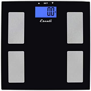 Escali USHM180G Glass Body Fat, Water, Muscle Mass Digital Scale, 400Lb/180Kg