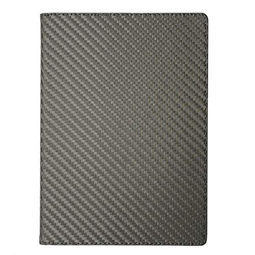 手帳カバー A5 カーボングレー ノートカバー ブックカバー 無地 横開き 合皮 手帳式 PUレザー