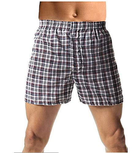 Hanes Red Label Men's 10-Pack Blue Plaid Woven Boxer (X-Large, Fashion Waistband)