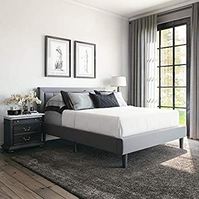 Classic Brands Mornington Upholstered Platform Bed   Headboard and Metal Frame with Wood Slat Support, Queen, Light Grey