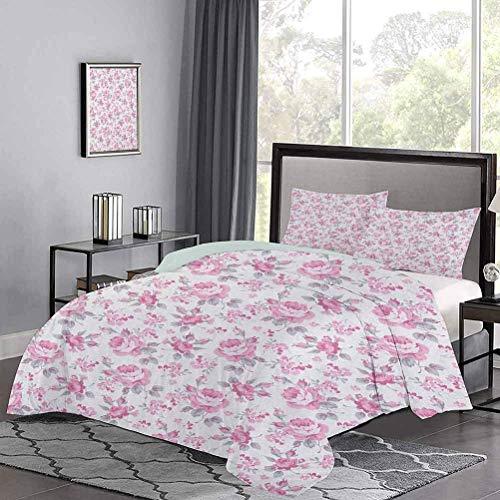 Juego de funda nórdica de, rosas rosadas con hojas grises, ropa de cama para jardín, plantas, flores de primavera, juegos de cama para todo uso, que no sientan picazón ni aspereza, rosa pálido, blanco