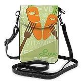 Petit sac à main pour femme - Motif graphique avec carottes souriantes sur des mots - Love The Vegan Diet