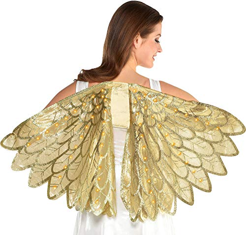 amscan Adult Gold Feather Light-Up Wngs