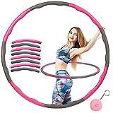 Herefun 6-8 Secciones Hula Hoop Desmontable, Hula Hoop Espuma, Hula Hoop Plegable, Hula Hoop para Perder Peso Fitness, Hula Hoop para Niños con Adulto (+Mini Cinta Métrica)