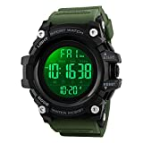 Mens Watches, Waterproof Military Dightal Watch with Calendar Chronograph Countdown Timer Alarm LED Backlight Running Sports Watch (Army Green)