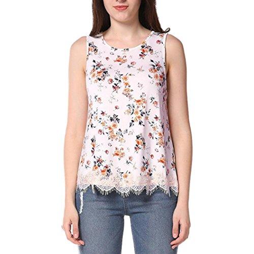 Tops Femme Toamen Imprimé floral Gilet sans manches croisé Chemisier T-shirts Beau Mode (M, A)