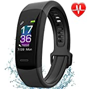 Fitness Tracker AISIRER Color Screen Waterproof Pedometer Bluetooth Watch Heart Rate Monitor Sleep Monitor Calorie Counter Activity Tracker Notification Compatible with Android and iOS Smartphone for Men Women and Kids (Black)