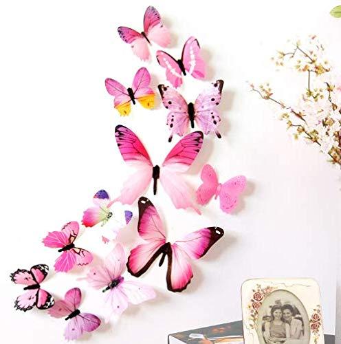 NoBranded wandtattoo 12 Stück Schmetterling 3D Wallpaper Aufkleber Neujahrsdekoration Schmetterling Hochzeitsdekoration PVC Wohnzimmer Wallpaper Aufkleber